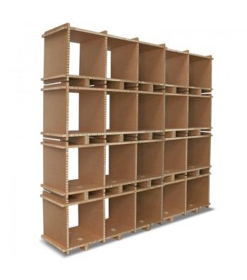 Libreria in cartone MULTI-BOX 5 MOD avana a 4 ripiani