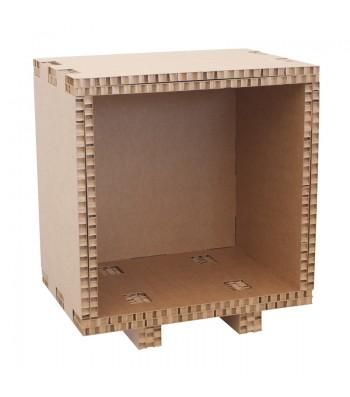 Cubo in cartone per libreria assemblabile FOOT avana a 5 lati