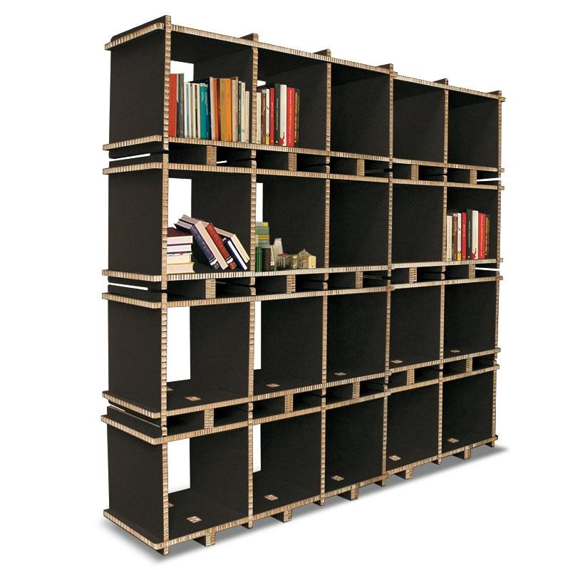 Libreria in cartone MULTI-BOX 5 MOD nera a 4 ripiani