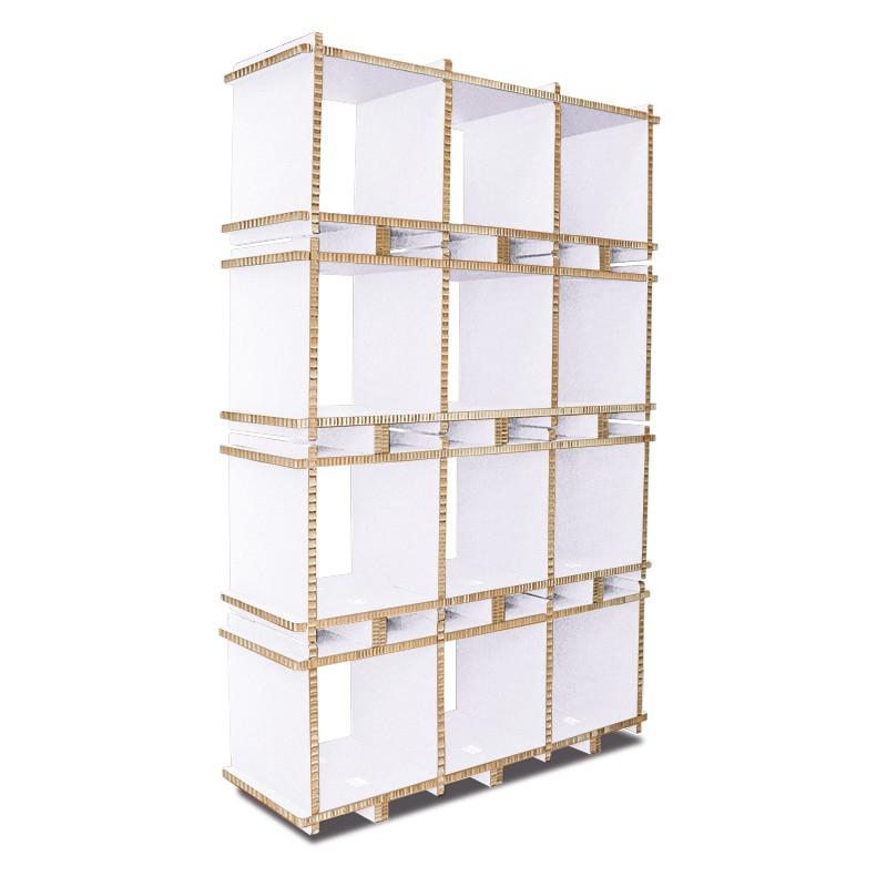 Libreria in cartone MULTI-BOX 3 MOD bianca a 4 ripiani