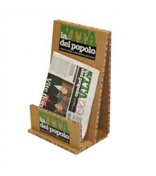 Porta riviste da tavolo in cartone alveolare avana